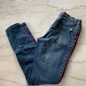 Jeans with red leg stripe